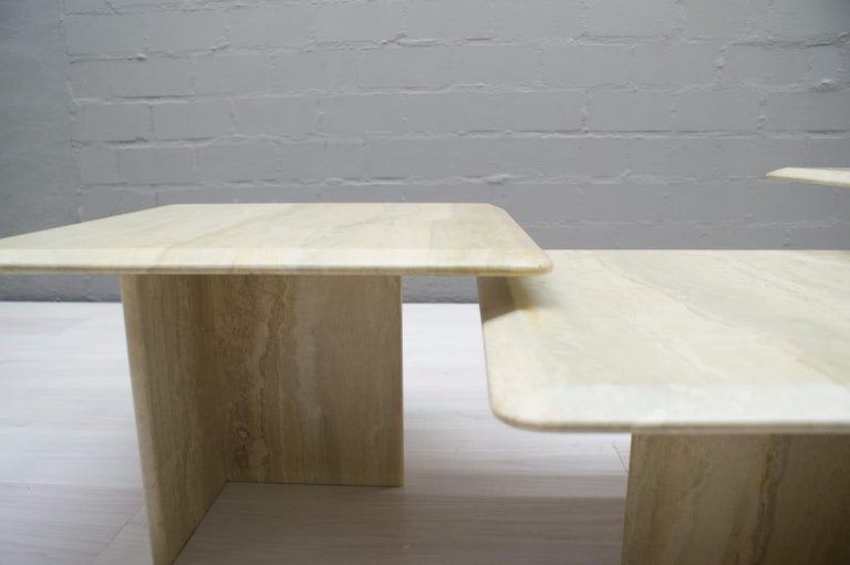 Set of Three Italian Travertine Side or End Tables, 1970s For Sale 3