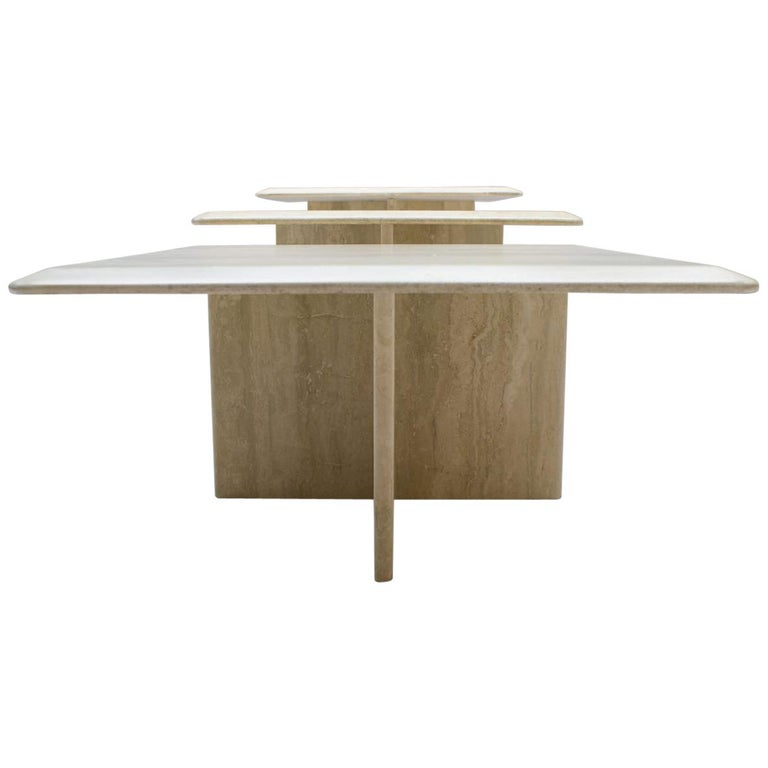 Set of Three Italian Travertine Side or End Tables, 1970s For Sale