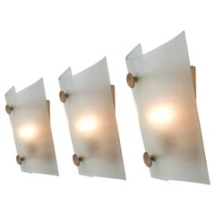 Set of Three Italian Wall Lights in Structured Glass