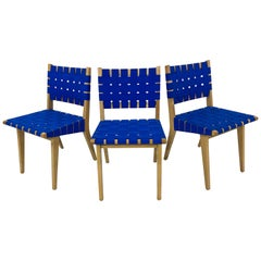 Set of Three Jens Risom for Knoll Webbed Wood Side Chairs