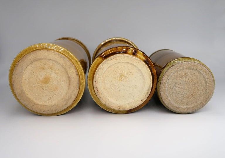 Set of Three Kähler Danish Midcentury Golden Ochre Ceramic Vases, 1950s For Sale 4