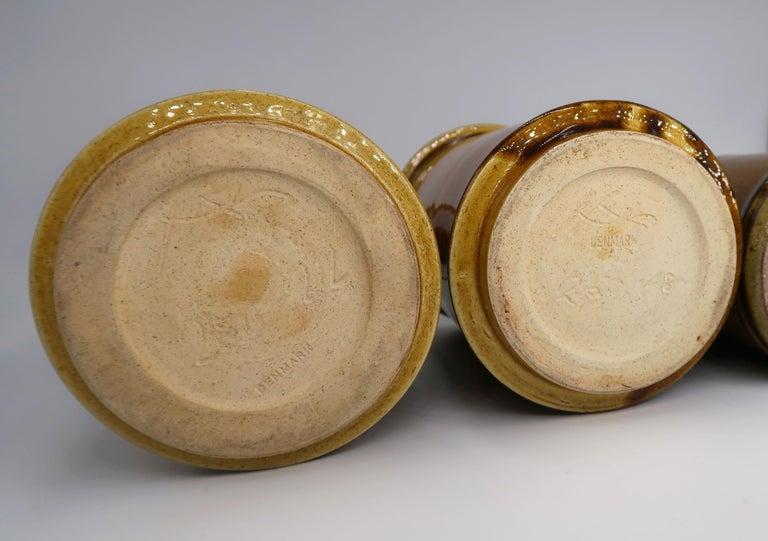 Set of Three Kähler Danish Midcentury Golden Ochre Ceramic Vases, 1950s For Sale 5