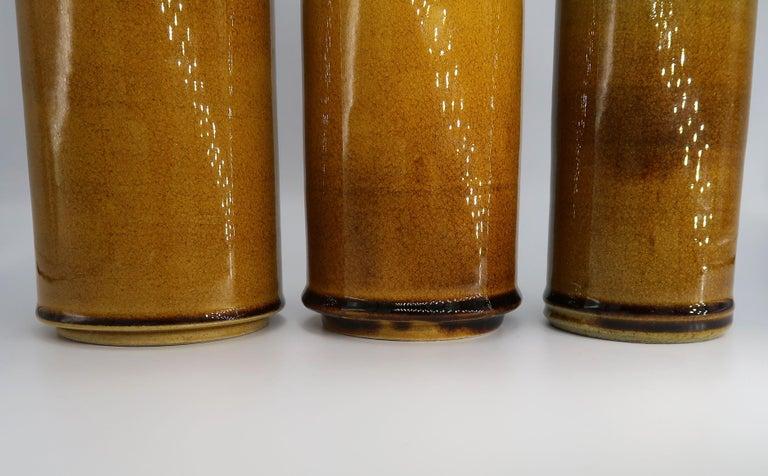 Glazed Set of Three Kähler Danish Midcentury Golden Ochre Ceramic Vases, 1950s For Sale