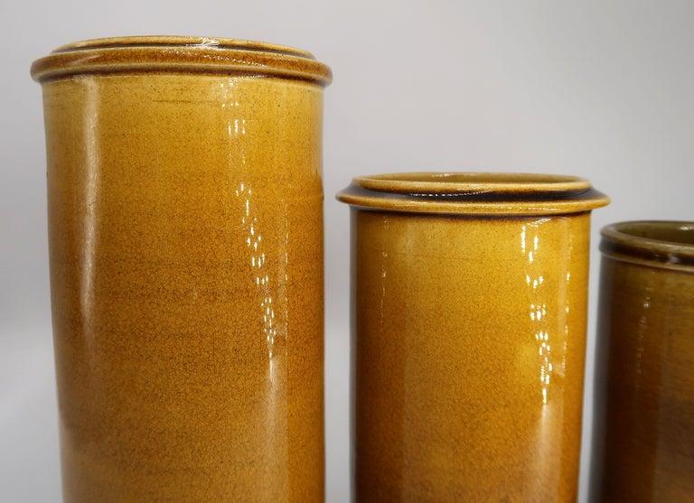 Set of Three Kähler Danish Midcentury Golden Ochre Ceramic Vases, 1950s In Good Condition For Sale In Frederiksberg, DK