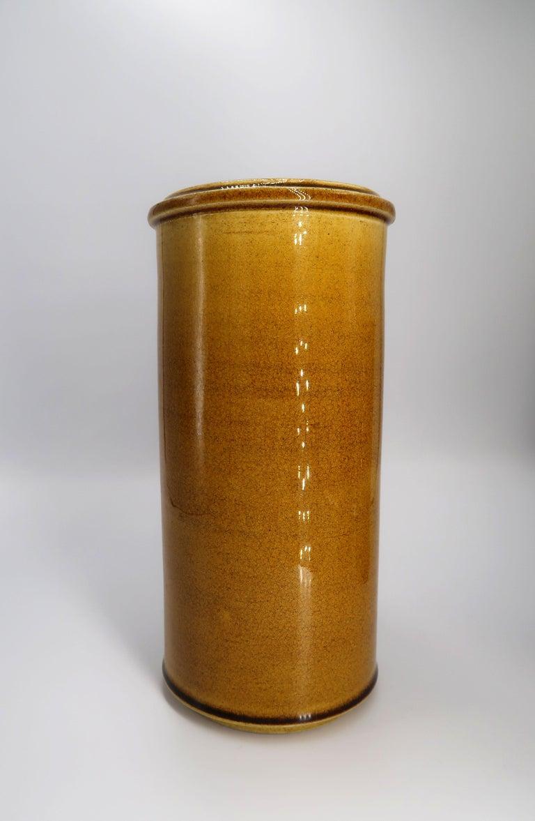 Set of Three Kähler Danish Midcentury Golden Ochre Ceramic Vases, 1950s For Sale 1