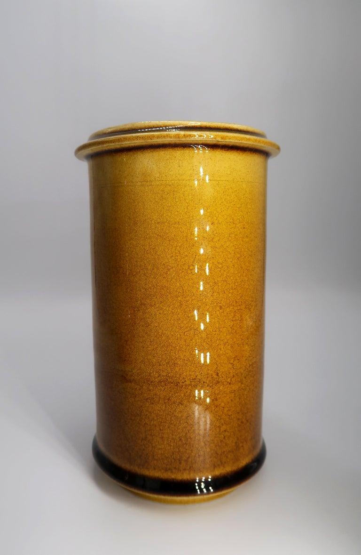 Set of Three Kähler Danish Midcentury Golden Ochre Ceramic Vases, 1950s For Sale 2
