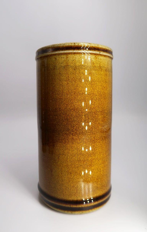 Set of Three Kähler Danish Midcentury Golden Ochre Ceramic Vases, 1950s For Sale 3