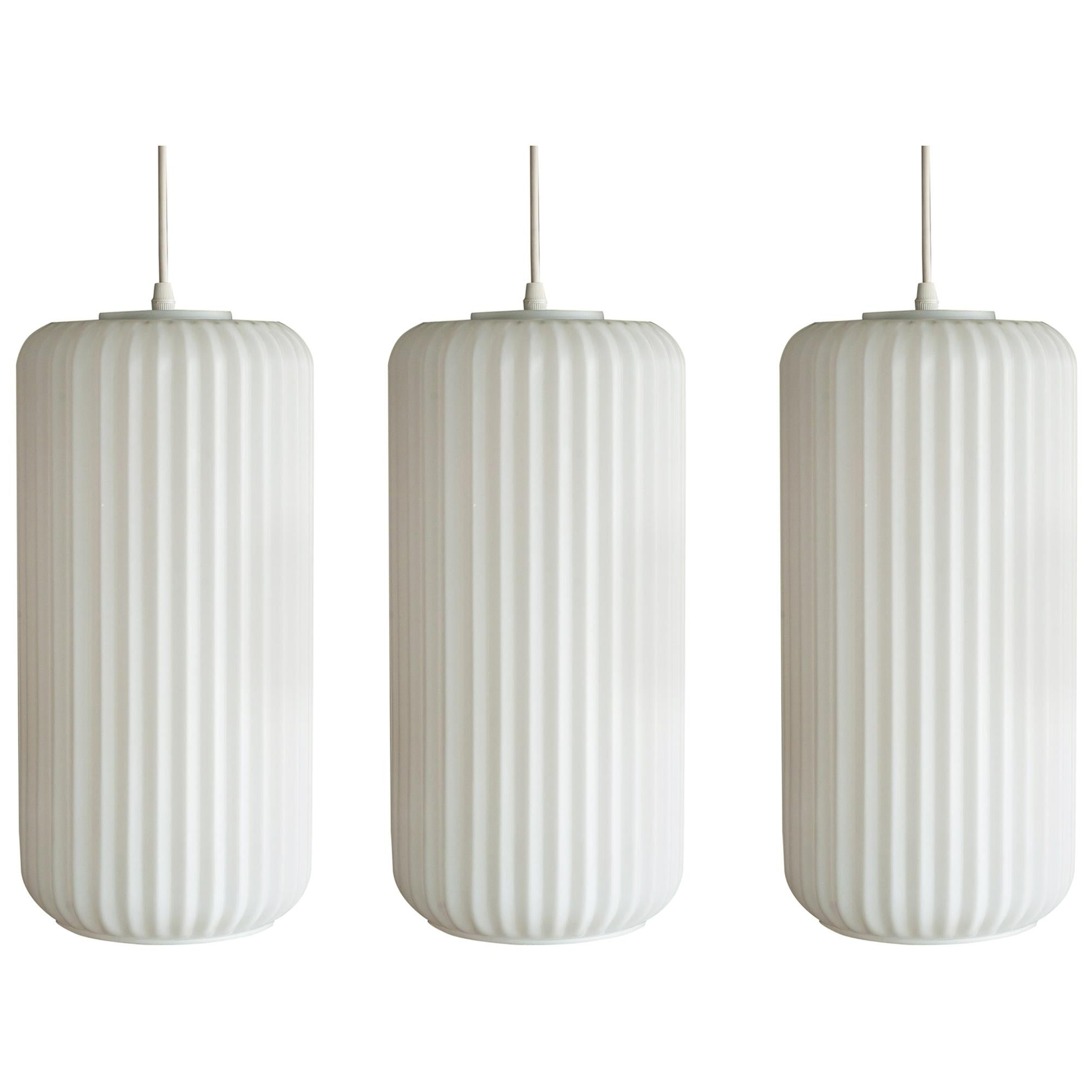 Set of Three Large Architectural Italian Glass Pendants