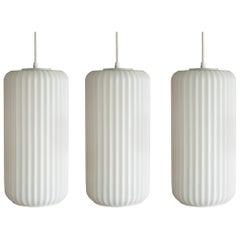 Set of Three Large Architectural Italian Glass Pendants