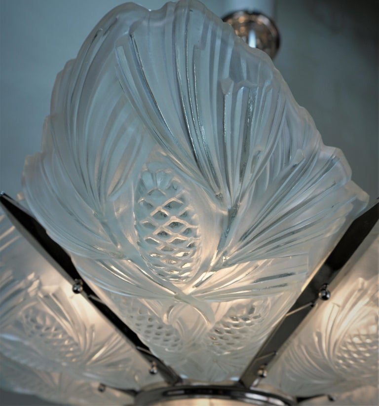 Set of Three Large Art Deco Chandeliers by Sabino For Sale 4