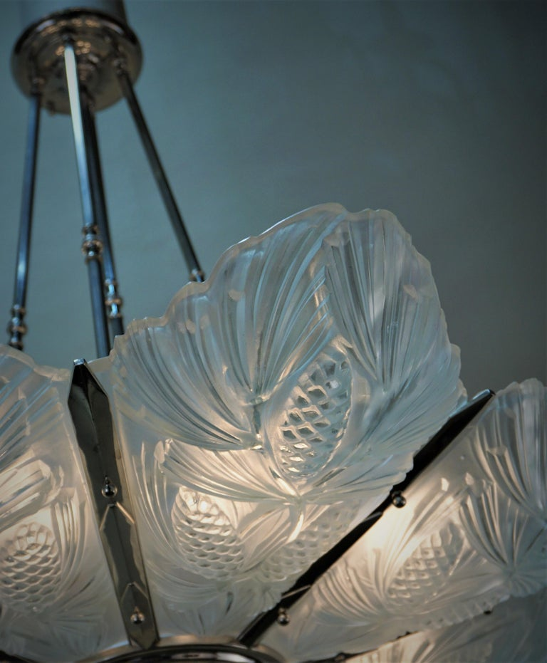 Set of Three Large Art Deco Chandeliers by Sabino In Good Condition For Sale In Fairfax, VA