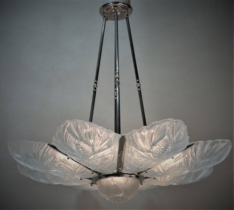 Glass Set of Three Large Art Deco Chandeliers by Sabino For Sale