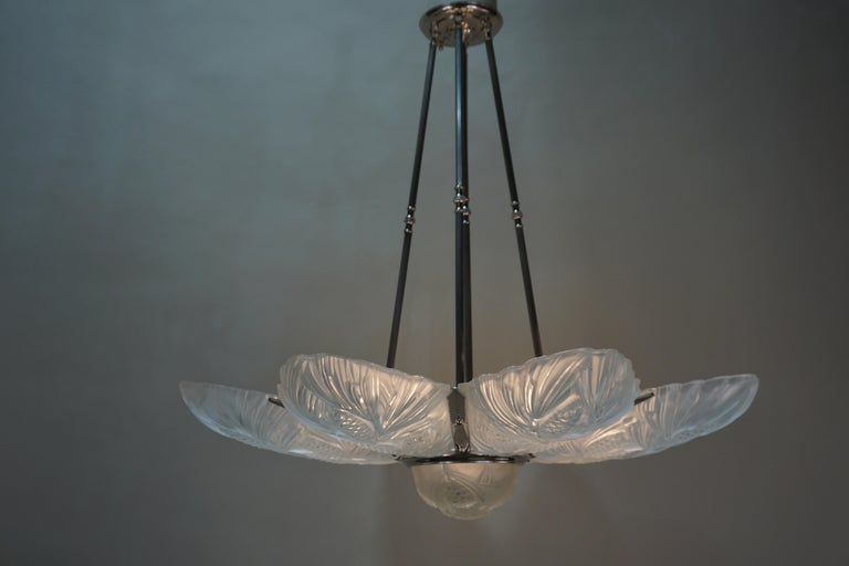 Set of Three Large Art Deco Chandeliers by Sabino For Sale 1