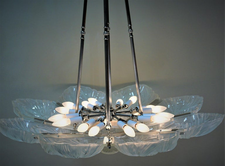 Set of Three Large Art Deco Chandeliers by Sabino For Sale 3