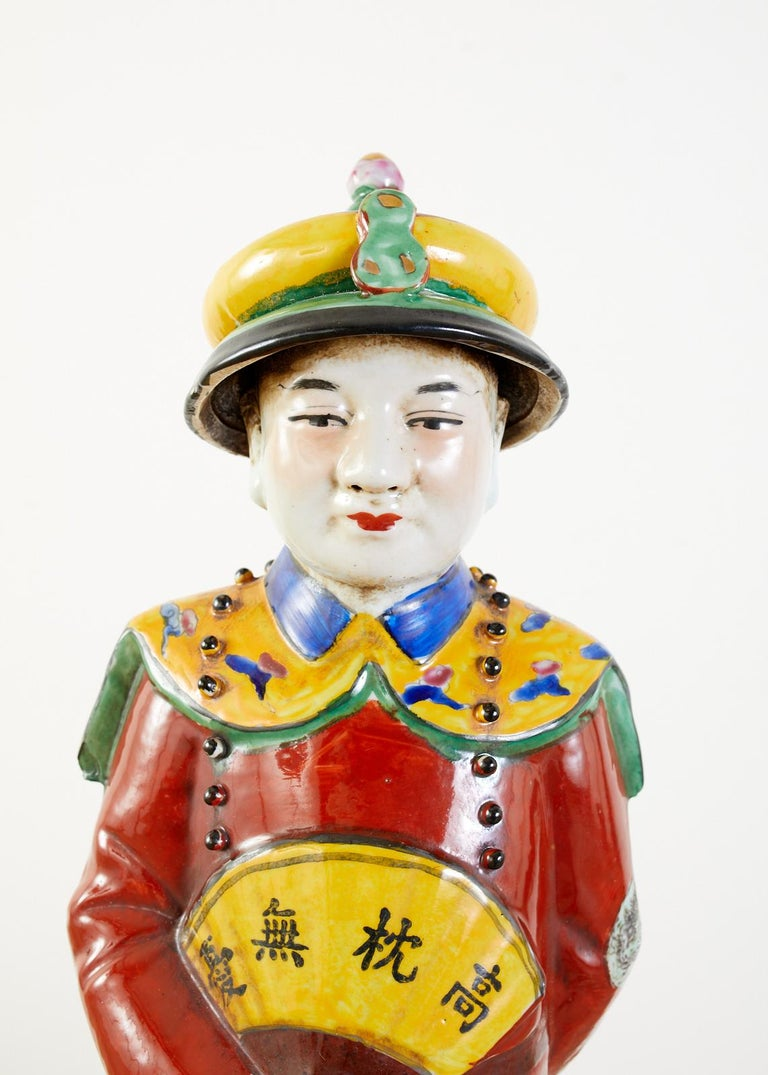 Set of Three Large Chinese Porcelain Qing Emperor Figures For Sale 6