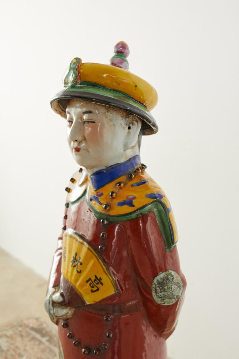 Set of Three Large Chinese Porcelain Qing Emperor Figures For Sale 7