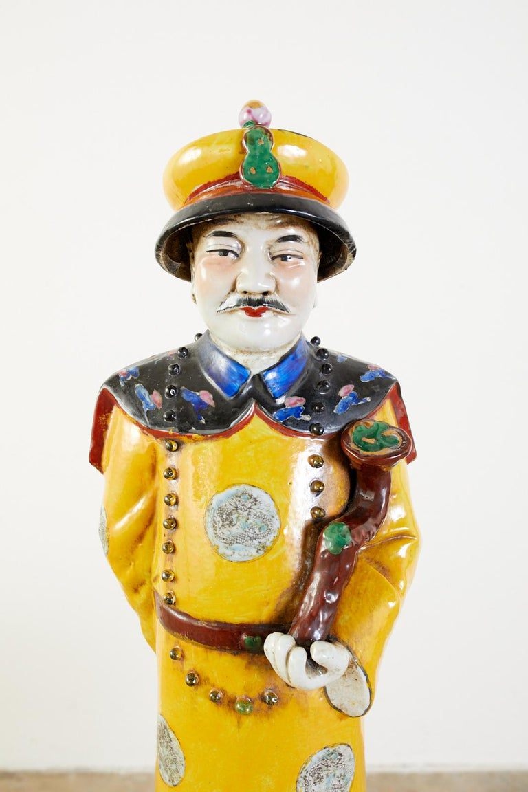 Set of Three Large Chinese Porcelain Qing Emperor Figures For Sale 10