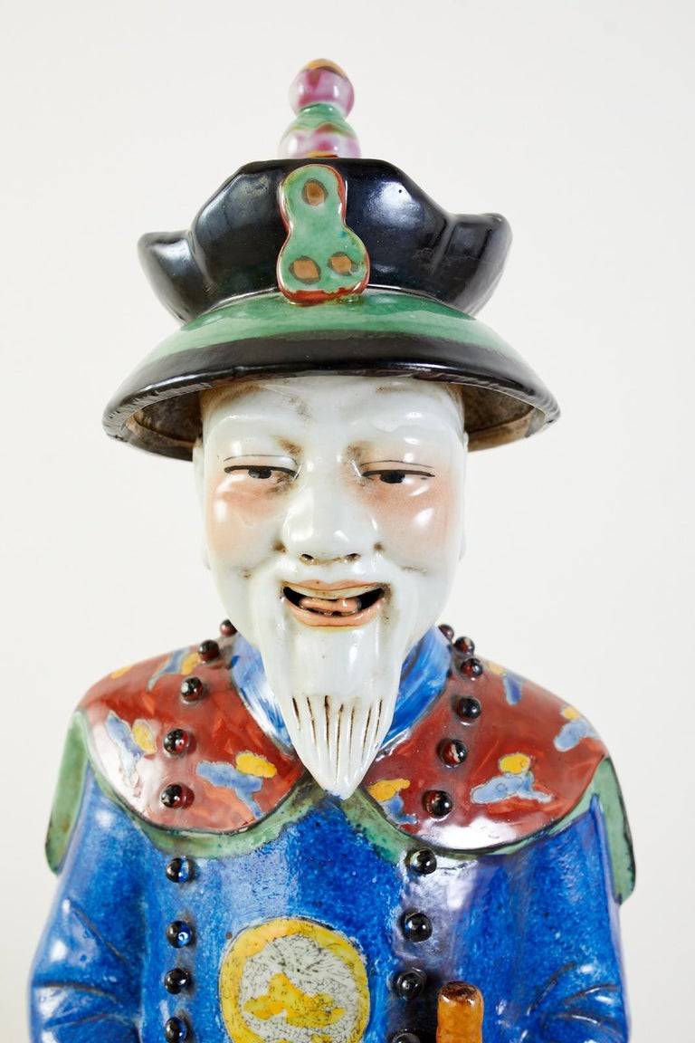 Set of Three Large Chinese Porcelain Qing Emperor Figures For Sale 2