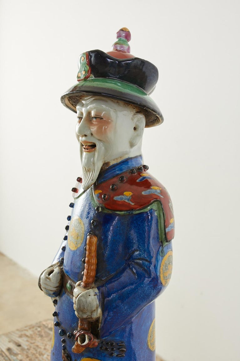 Set of Three Large Chinese Porcelain Qing Emperor Figures For Sale 3