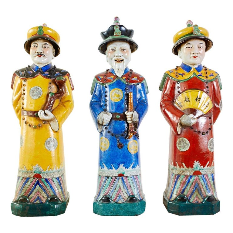 Set of Three Large Chinese Porcelain Qing Emperor Figures For Sale
