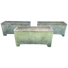 Set of Three Large French Cast Stone Art Nouveau Style Rectangular Planters