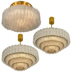 Set of Three Large Glass Brass Light Fixtures by Doria, Germany, 1969