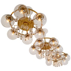 Set of Three Large Hotel Chandeliers, in Brass and Glass, European, 1970s