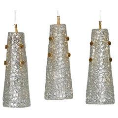 Set of Three Large J.T. Kalmar Lights Lamps Textured Murano Ice Glass Brass 1950