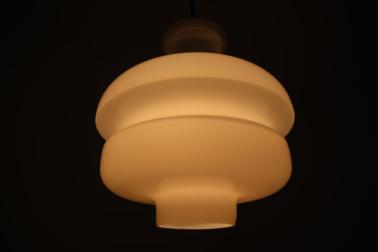 Set of Three Large Midcentury Pendants, Opaline Glass and Brass, Europe, 1960s For Sale 6