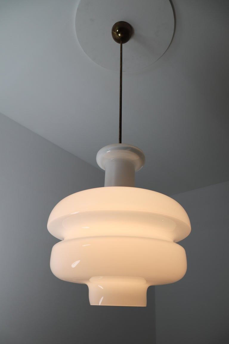 Mid-Century Modern Set of Three Large Midcentury Pendants, Opaline Glass and Brass, Europe, 1960s For Sale