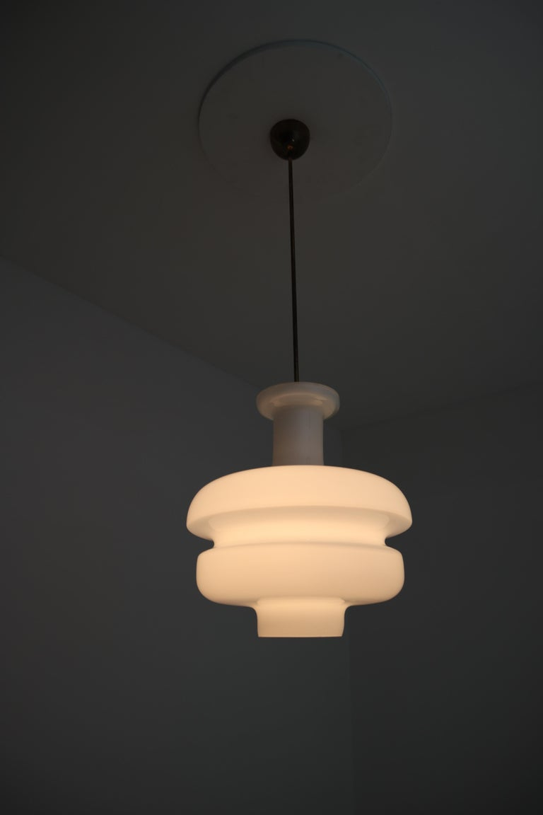 European Set of Three Large Midcentury Pendants, Opaline Glass and Brass, Europe, 1960s For Sale