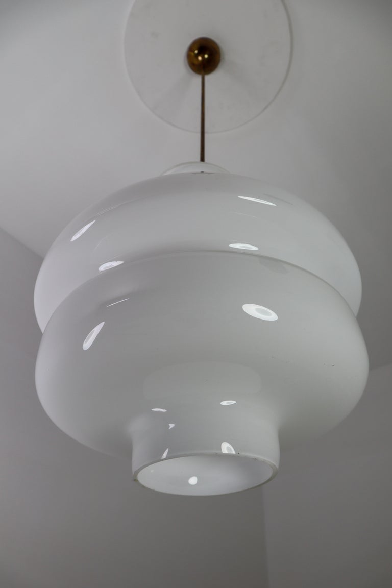 Set of Three Large Midcentury Pendants, Opaline Glass and Brass, Europe, 1960s In Good Condition For Sale In Almelo, NL