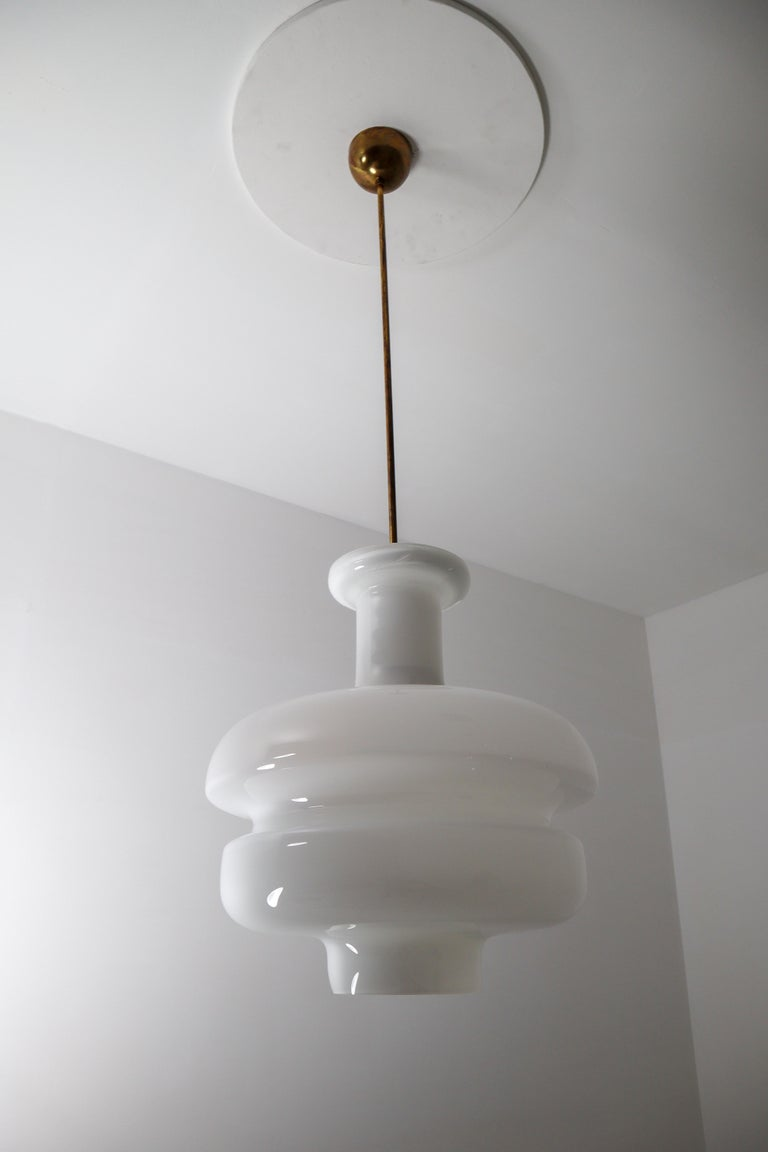 Set of Three Large Midcentury Pendants, Opaline Glass and Brass, Europe, 1960s For Sale 1