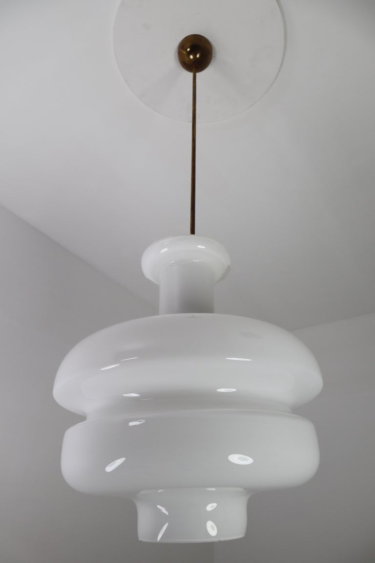 Set of Three Large Midcentury Pendants, Opaline Glass and Brass, Europe, 1960s For Sale 2