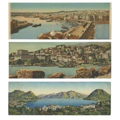 Set of Three Large Panoramic Vintage Postcards of Algeria and Lugano