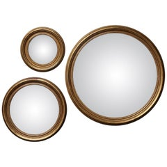 Set of Three Large Round Vintage Plastered Giltwood Convex Butler Mirrors