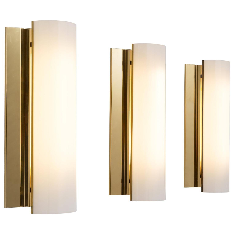 Set of Three Large Swedish Wall Lights in Brass