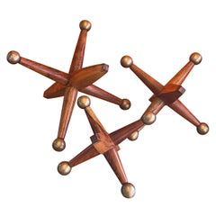 Set of Three Large Wood & Brass Atomic Jacks / Jax