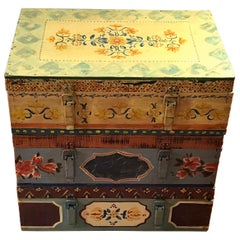 Set of Three Late 19th Century Swedish Hand Painted Stackable Trunks
