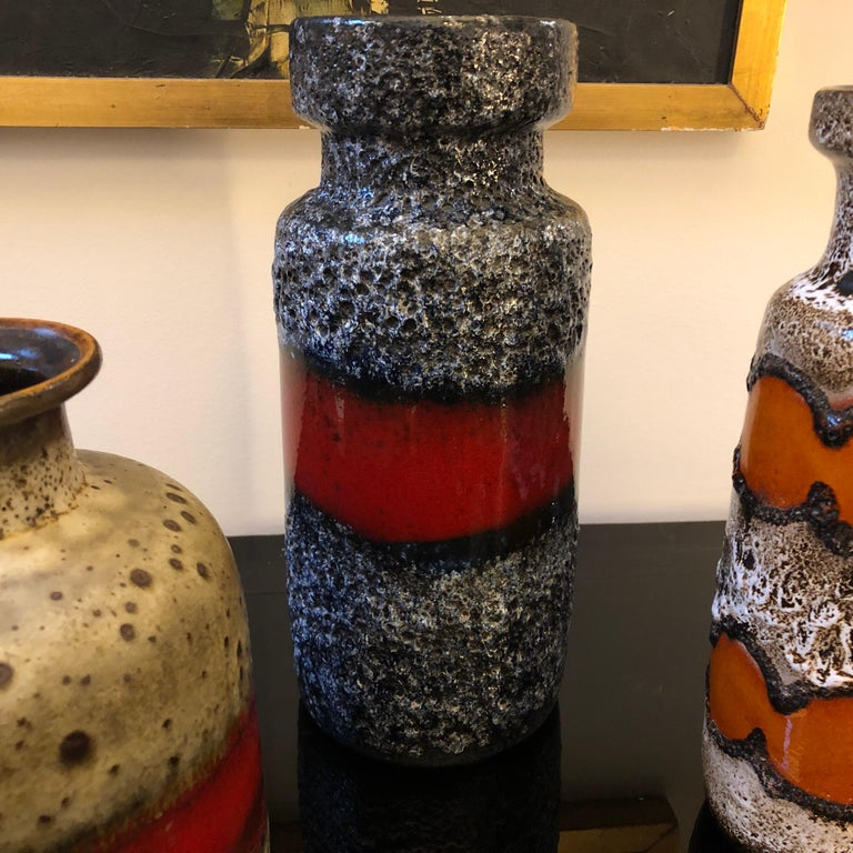 Hand-Crafted Set of Three Lava Keramik German Vases, circa 1960 For Sale