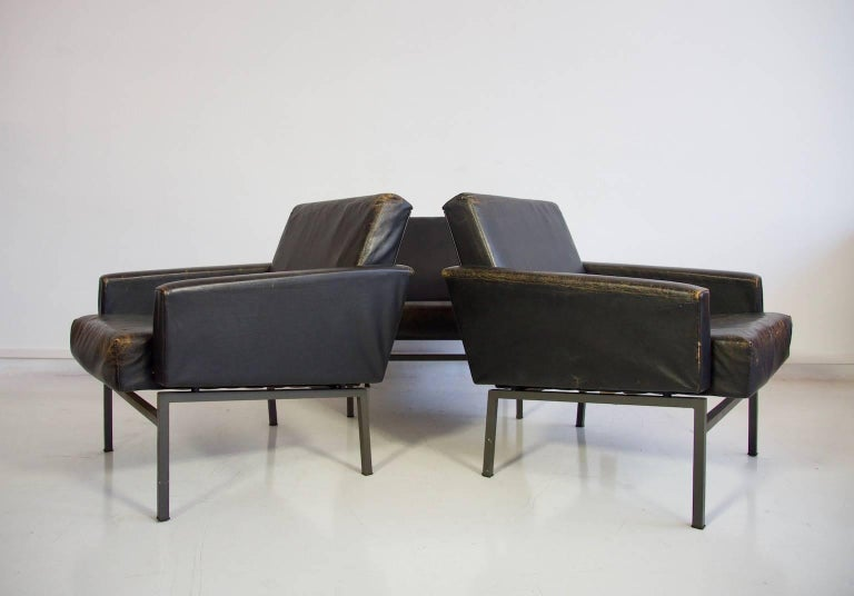 Mid-Century Modern Set of Three Leather Armchairs by Friedrich Wilhelm Moller for COR For Sale