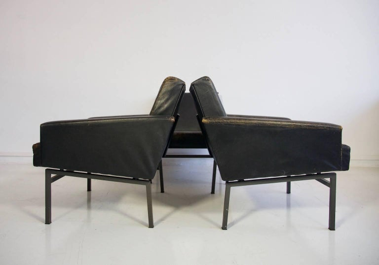 Danish Set of Three Leather Armchairs by Friedrich Wilhelm Moller for COR For Sale