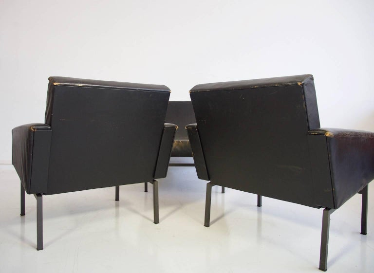 Set of Three Leather Armchairs by Friedrich Wilhelm Moller for COR In Fair Condition For Sale In Madrid, ES