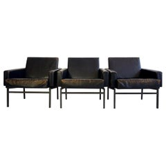 Set of Three Leather Armchairs by Friedrich Wilhelm Moller for COR