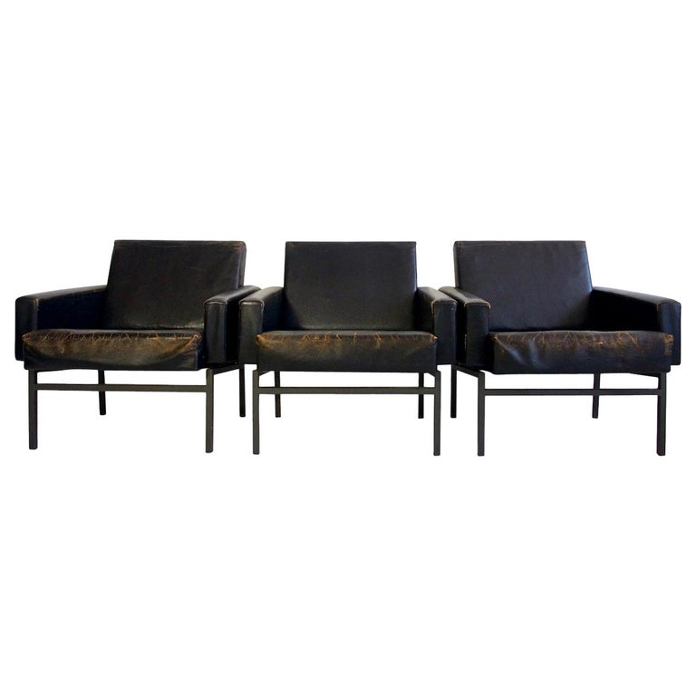 Set of Three Leather Armchairs by Friedrich Wilhelm Moller for COR For Sale