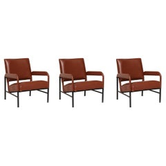 Set of Three Leather Armchairs, France, C. 1955