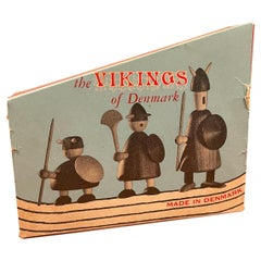 Set of Three Like New Mid-Century Danish Vikings Figures w/ Box by Jacob Jensen