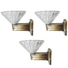 Set of Three Limited Edition Italian Sconces in the Style of Barovier & Toso