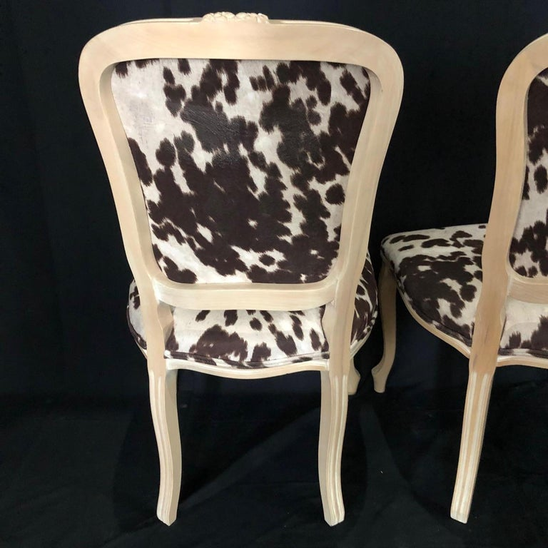 Set of Three Louis XV Style Bleached Wood Chairs with Faux Hide Upholstery For Sale 4