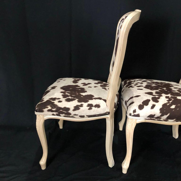 Set of Three Louis XV Style Bleached Wood Chairs with Faux Hide Upholstery For Sale 5